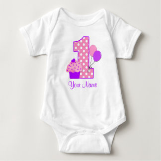 1st Birthday Purple Cupcake Personalized T-shirt