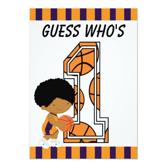 1st Birthday Purple & Orange Basketball Player Invitation