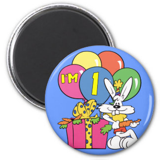 1st Birthday Rabbit Refrigerator Magnets