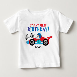 1st Birthday Race Car Red And Blue Baby T Shirt