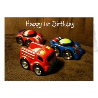 1st BIRTHDAY - RACING CAR GREETING Card