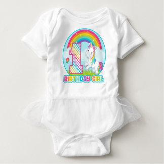1st Birthday Rainbow Unicorn - Birthday Girl Baby Bodysuit