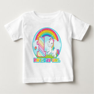 1st Birthday Rainbow Unicorn - Birthday Girl T-shirt