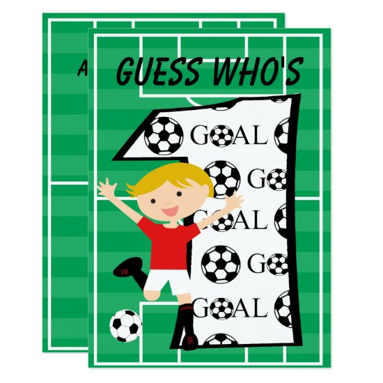 1st Birthday Red and White Soccer Goal Invitation