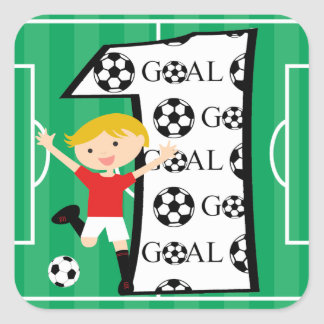 1st Birthday Red and White Soccer Goal Square Sticker