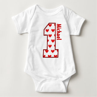 1st Birthday Red Hearts One Year Old N006 Baby Bodysuit
