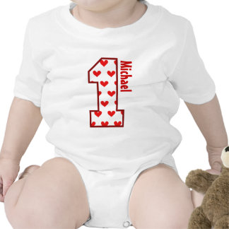 1st Birthday Red Hearts One Year Old N006 Romper