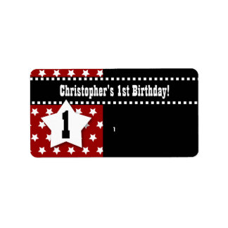 1st Birthday Red Stars Dashed Ribbon W001 Label
