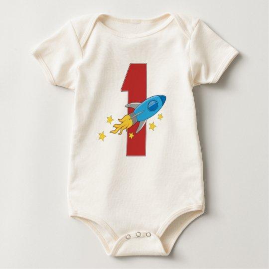 1st Birthday Retro Rocket Baby Bodysuit