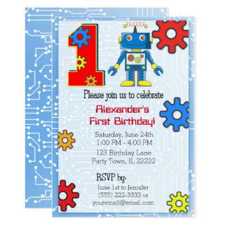 1st Birthday Robot Custom Card