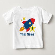 1st Birthday Rocket Personalized Birthday T-shirt