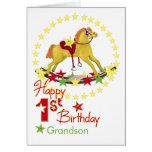 1st Birthday Rocking Horse Stars Greeting Card