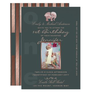 1st Birthday ROSE GOLD Elephant Invites -ADD PHOTO