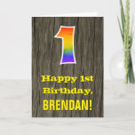 "[ Thumbnail: 1st Birthday: Rustic Faux Wood Look, Rainbow ""1"" Card ]"
