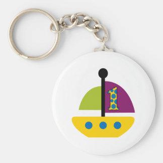 1st Birthday Sailboat Keychain