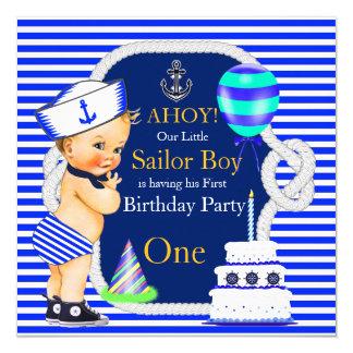 1st Birthday Sailor Boy Navy Blue Stripe Blonde Card