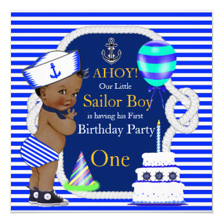 1st Birthday Sailor Boy Navy Blue Stripe Ethnic Card
