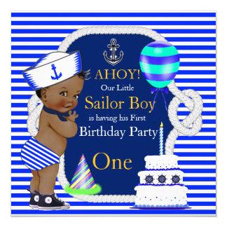 1st Birthday Sailor Boy Navy Blue Stripe Ethnic Card