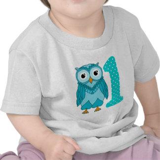 1st Birthday Shirt: Owl Blue Tshirt