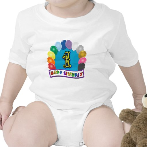 1st Birthday Shirt with Assorted Balloons Design