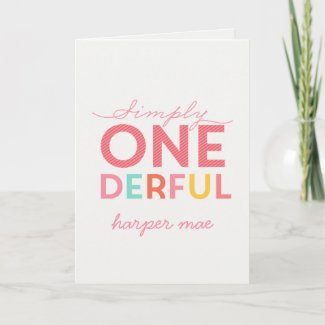 1st birthday simple onederful colorful typography card