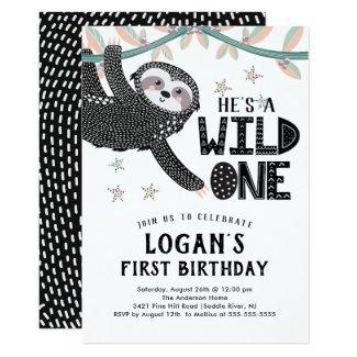 1st Birthday Sloth Birthday Invitation