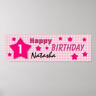 1st Birthday Star Banner PINK POLKA DOTS V01A Poster