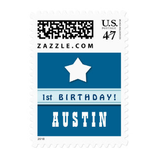 1st Birthday Star with Ribbon Blue for Boy A01 Postage