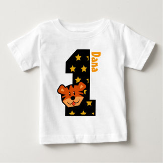 1st Birthday Stars and Tiger One Year Old Baby T-Shirt