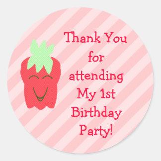 1st Birthday Strawberry Thank You Stickers