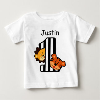 1st Birthday STRIPES Tiger and Lion 1 Year Old A6 Baby T-Shirt