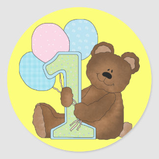 1st Birthday Teddy Bear (3) Classic Round Sticker