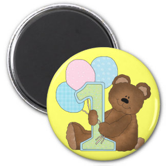 1st Birthday Teddy Bear 3 Refrigerator Magnets