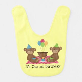 1st Birthday Teddy Bear Baby Bib