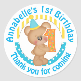 1st Birthday Teddy Bear Classic Round Sticker