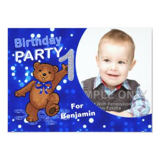 1st Birthday Teddy Bears Party, Custom Photo Card