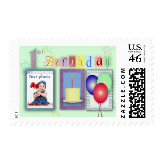 1st birthday template stamps