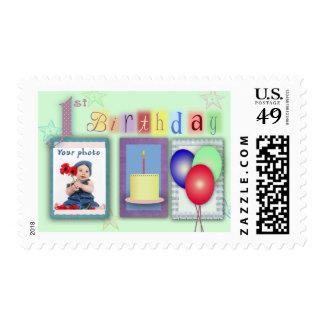 1st birthday template postage stamp