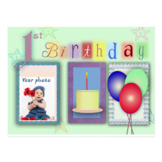 1st birthday template post card