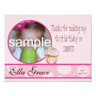 1st Birthday Thank you card