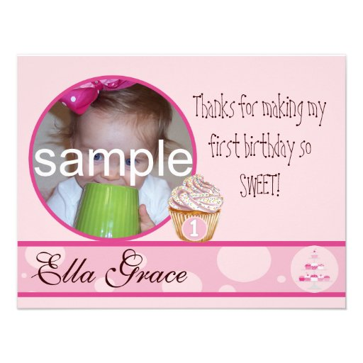 1st Birthday Thank you card Custom Invitation