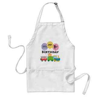 1st Birthday Train Birthday Adult Apron