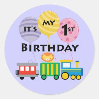 1st Birthday Train Birthday Classic Round Sticker