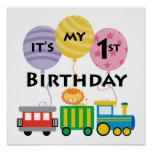 1st Birthday Train Birthday Poster