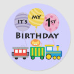 1st Birthday Train Birthday Round Sticker