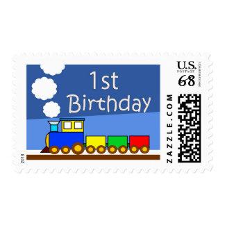 1st birthday train stamp