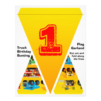 1st Birthday Truck Flag Garland / Bunting Full Color Flyer