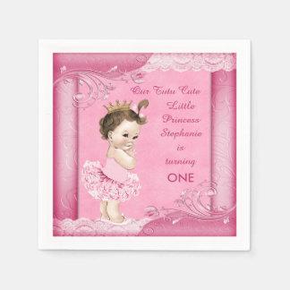 1st Birthday Tutu Cute Brunette Princess Faux Lace Paper Napkin