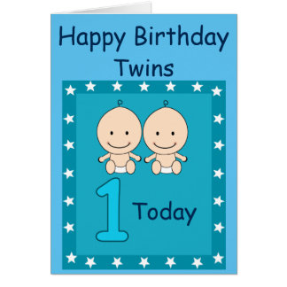 1st Birthday Twin Boys Custom Card