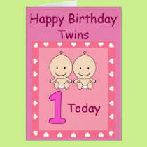 1st Birthday Twin Girls Custom Card
